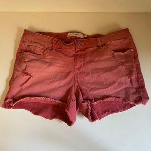 Torrid red pink cutoffs denim shorts